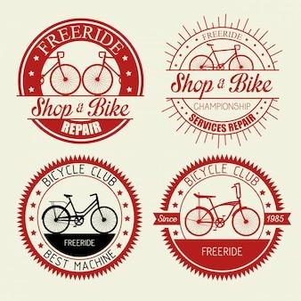 Impostare l'emblema del negozio di biciclette con servizio di riparazione