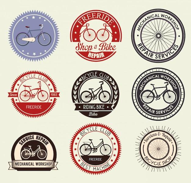 Impostare l'emblema della bicicletta per il negozio e l'assistenza meccanica