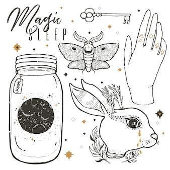 Impostare l'illustrazione con simboli disegnati mistici e occulti.