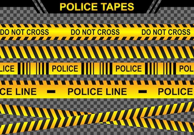 Impostare l'illustrazione di linee di polizia, concetto di scena criminale di pericolo di crimine, sicurezza di simbolo di bandiera del nastro di accesso, attenzione di linea nastro giallo, segno isolato sfondo trasparente