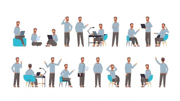 Impostare l'uomo d'affari in diverse pose emozioni gesto e concetto di linguaggio del corpo