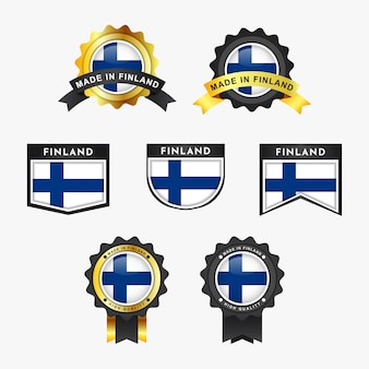 Impostare la bandiera della finlandia e realizzato in etichette distintivo dell'emblema del findland