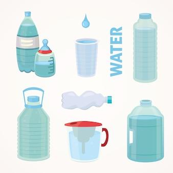 Impostare la bottiglia di plastica di acqua pura, illustrazione di bottiglia diversa in stile cartone animato.