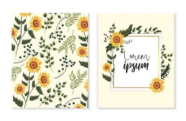 Impostare la carta con girasoli esotici e foglie di rami