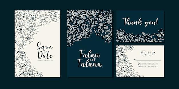 Impostare la carta di invito di nozze con il modello floreale del fondo della corona botanica di scarabocchio disegnato a mano astratto