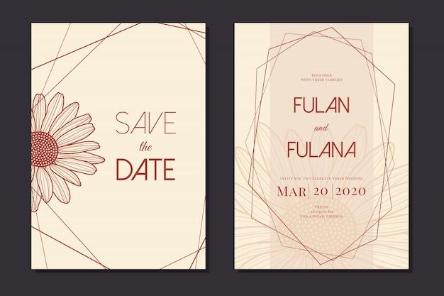Impostare la carta di invito di nozze con modello monocromatico di contorno fiore margherita doodle disegnato a mano