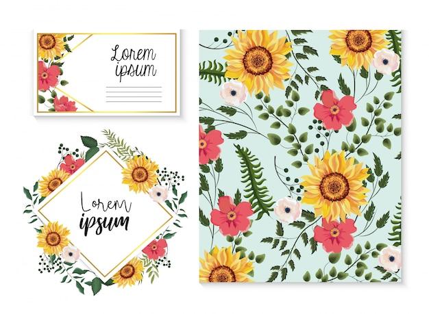 Impostare la carta e l'etichetta con foglie di girasoli e rami