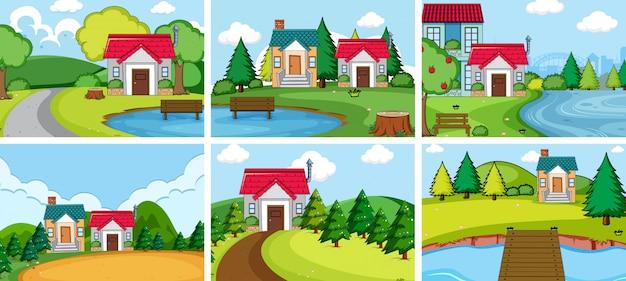 Impostare la casa del villaggio rurale