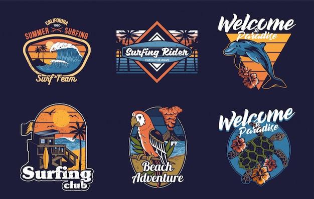 Impostare la collezione di design vintage con estate, hawaii, california, surf, mare, oceano, animali tropicali, onde, palme e frasi.