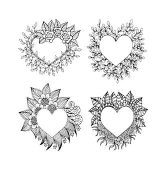 Impostare la composizione decorativa cornice amore con cuori, fiori, elementi decorati in stile doodle