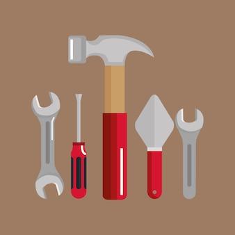 Impostare la costruzione di edifici e strumenti di riparazione a casa