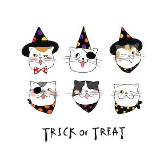 Impostare la faccia di emozione del gatto per il giorno di halloween