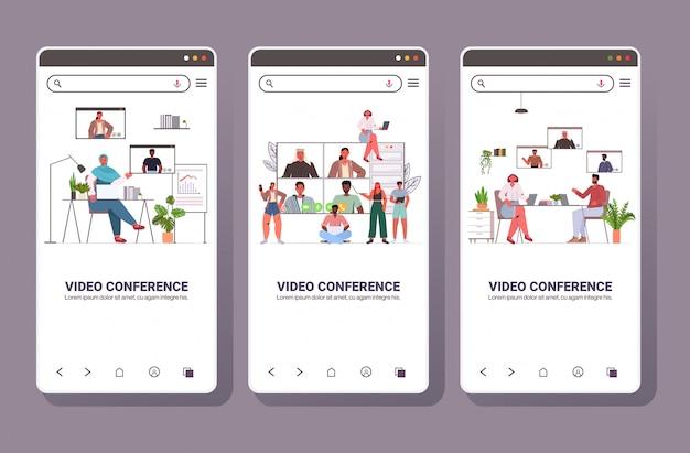 Impostare la gente della corsa della miscela che chiacchiera durante le persone di affari di videochiamata che hanno concetto online di comunicazione della riunione di riunione di conferenza degli schermi dello schermo l'illustrazione horrizontal dello spazio della raccolta
