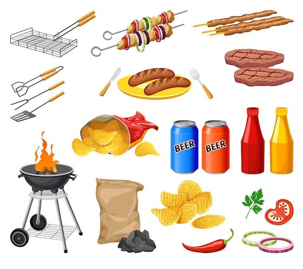 Impostare la griglia del barbecue isolata