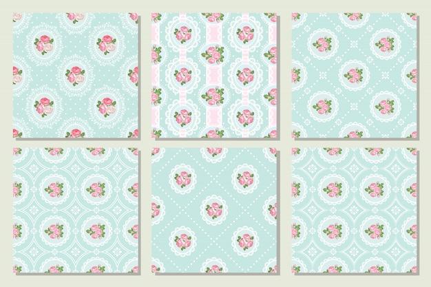 Impostare la raccolta di pattern shabby chic rosa senza soluzione di continuità.