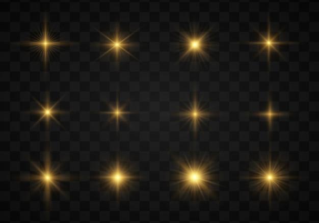 Impostare la stella splendente, le particelle solari e le scintille, il colore del bokeh