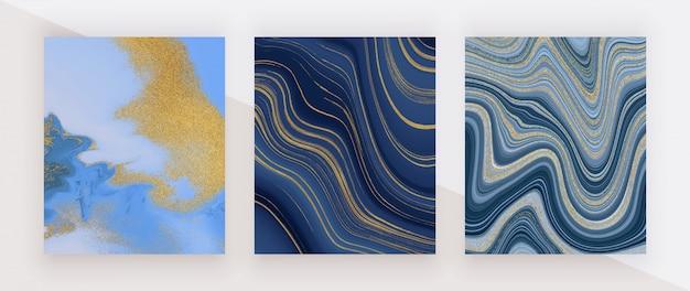 Impostare la struttura in marmo liquido. pittura a inchiostro glitter blu e dorato