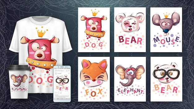 Impostare la testa di animale - illustrazione e merchandising