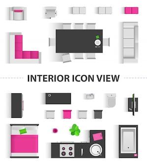 Impostare la vista dall'alto per il design di icone interne. illustrazione isolata icona di vista superiore interna piatta