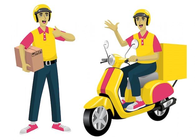 Impostare lavoratore del servizio di corriere e lo scooter
