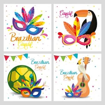 Impostare le carte di carnevale brasile
