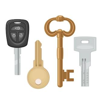 Impostare le icone delle chiavi. classico, vintage, auto, stile moderno. illustrazione piatta