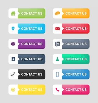 Impostare le icone di contattarci pulsante isolato su sfondo bianco.
