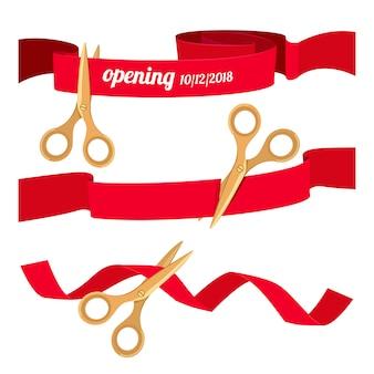 Impostare le illustrazioni con le forbici che tagliano i nastri rossi. cerimonia grand open, inizio e inizio vettore