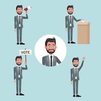 Impostare le persone con la barba uomo in abito formale in diverse pose per la candidatura di voto