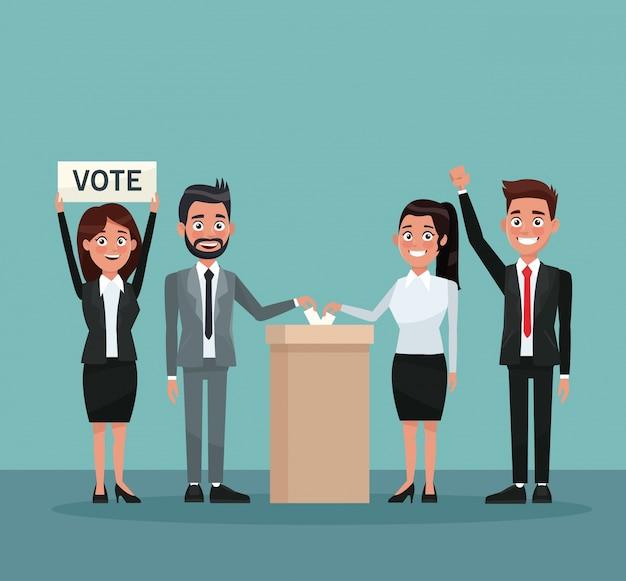 Impostare le persone in formale voto di voto in urna per il candidato e banner promuovendo il voto
