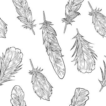 Impostare le piume. illustrazione di incisione nera vintage. sfondo bianco isolato