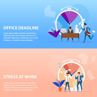 Impostare le scadenze e lo stress sul lavoro dell'ufficio scritto.