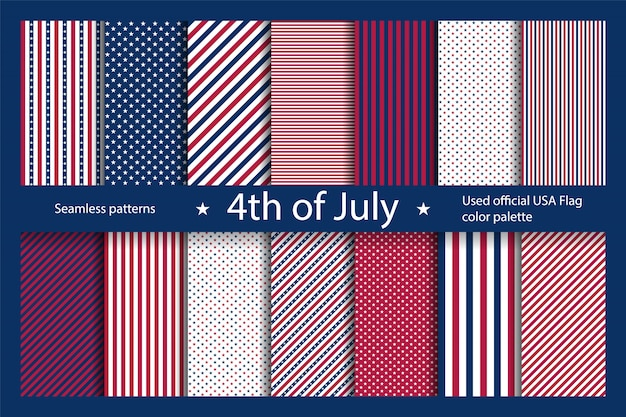 Impostare lo sfondo usa con elementi della bandiera americana. modello senza cuciture astratto per la festa dell'indipendenza.