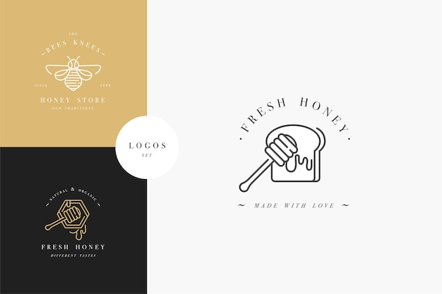 Impostare loghi illustartion e modelli di design o badge. etichette e tag di miele biologico ed eco con le api. stile lineare e colore dorato.