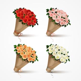 Impostare mazzi di rose isolati