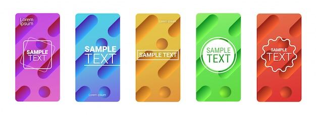Impostare modelli colorati dinamici che scorre forme liquide fluido colore gradiente astratto sfondo smartphone schermi online mobile app copia spazio orizzontale