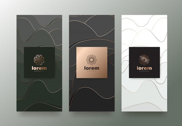 Impostare modelli di etichette con trama astratta per prodotti di lusso.