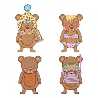 Impostare orso con cappello e costume da bagno con maschera d'acqua
