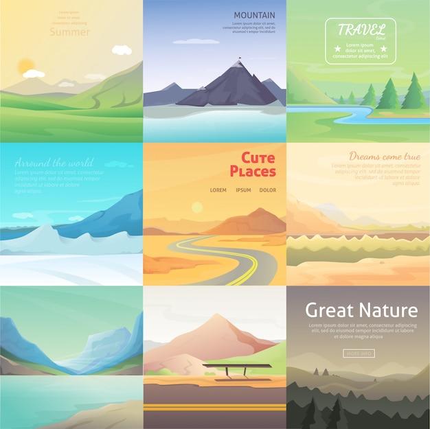 Impostare paesaggi di cartone animato carino con montagna. raccolta di vettore della natura