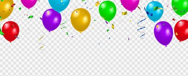 Impostare palloncini di colore, modello di progettazione di concetto di coriandoli vacanza happy day, sfondo