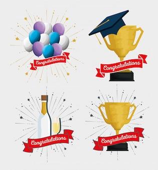 Impostare palloncini festa con coppa premio e champagne