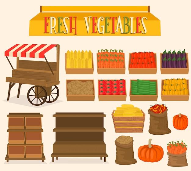 Impostare per i mercati di strada nelle verdure