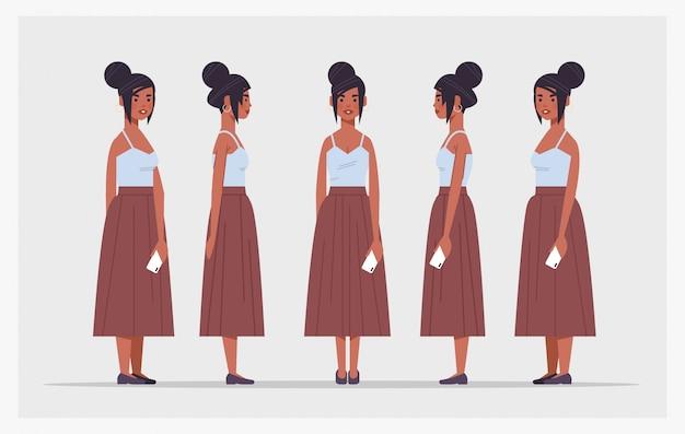 Impostare personaggio dei cartoni animati femminile afroamericano imprenditrice azienda smartphone vista frontale vista frontale