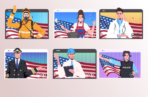 Impostare persone di diverse occupazioni con la celebrazione della festa del lavoro felice delle bandiere degli stati uniti