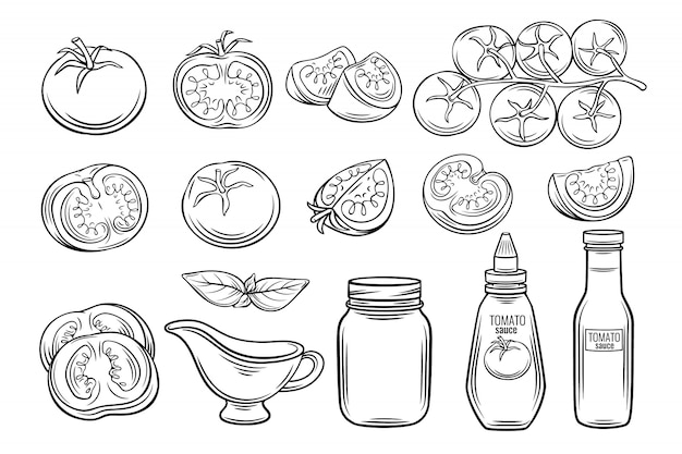 Impostare pomodoro e salsa disegnati a mano
