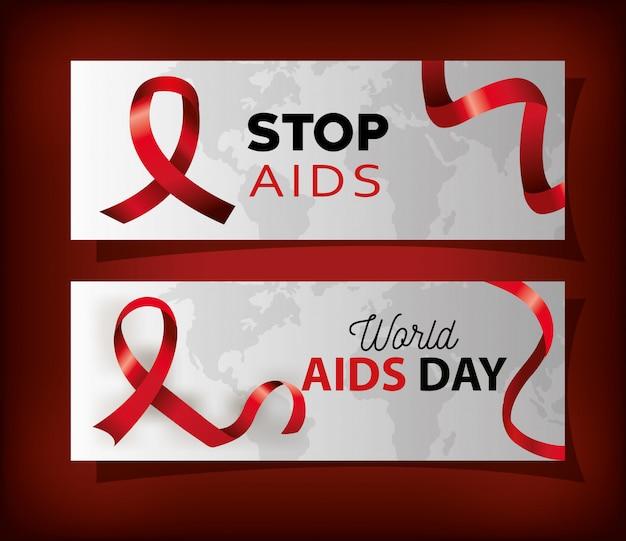 Impostare poster con la giornata mondiale dell'aids e nastro
