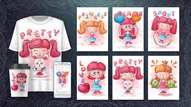Impostare poster e merchandising della ragazza pretyy.