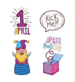 Impostare prima aprile con giullare e scatola per il giorno dei matti