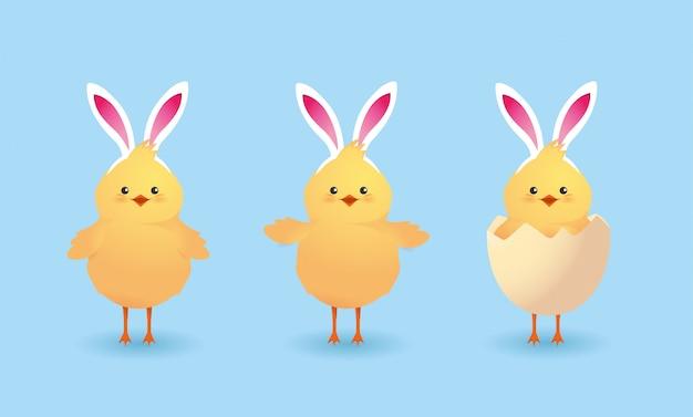 Impostare pulcini simpatici animali da fattoria con l'uovo rotto