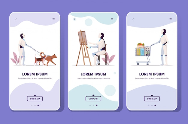 Impostare robot a spasso con il disegno del cane spingendo carrello carrello intelligenza artificiale tecnologia concetto smartphone schermi raccolta mobile app integrale lunghezza spazio copia orizzontale